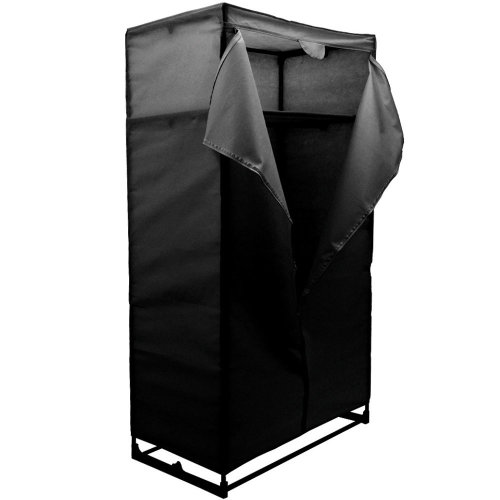 COMPACT - Double Wardrobe / Clothes Storage with Canvas Cover - Black