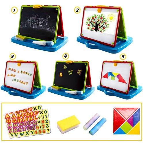 deAO All in One Kids Blackboard/Whiteboard Learning Easel