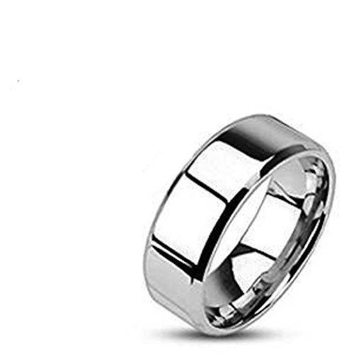Flat Beveled Edged Highly Polished Surgical Steel Band Ring
