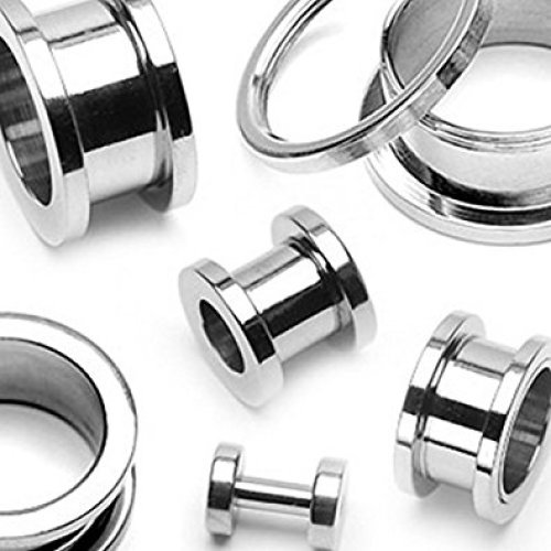 Surgical Steel Screw Fit Hollow Ear Tunnel Saddle Plug Piercing Finest Quality Materials