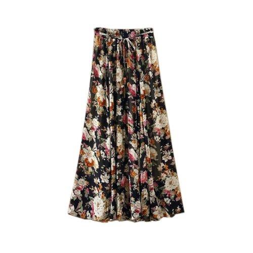Black Flower Pattern Summer Chiffon Skirt Large Swing Skirts Fairy Skirt