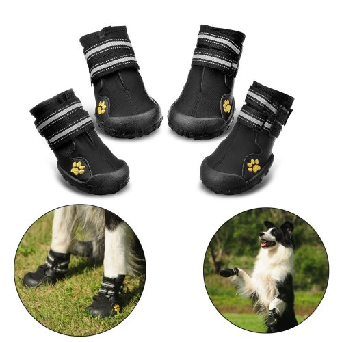 Protective Dog Boots, Royalcare Set of 4 Waterproof Dog Shoes for Medium and Large Dogs - Black (4#)