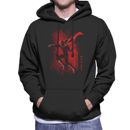 One Punch Man Silhouette Red Shadow Men's Hooded Sweatshirt