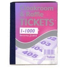 Book of 1000 Raffle / Cloakroom Tickets