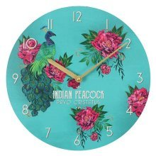 Oriental Flight Peacock and Flowers Wall Clock