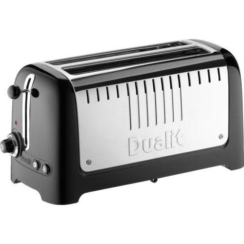 Dualit Lite 4 Slice Long Slot Toaster with Warming Rack Gloss Black 46025