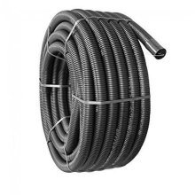 63MM X 50M BLACK ELECTRICAL FLEXIBLE CABLE DUCTING INCLUDING COUPLING & DRAW CORD