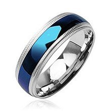 8mm Width Blue Plated Center Stainless Steel Band Ring