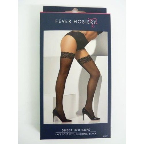 Black Sheer Stockings With Lace Top -  black sheer lace stockings hold hosiery womens ups ladies holdups tops silicone fancy dress fever costume
