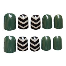 2 Boxes(48 Pieces) 3D Design False Nails/Elegant False Nails Sets, Dark Green