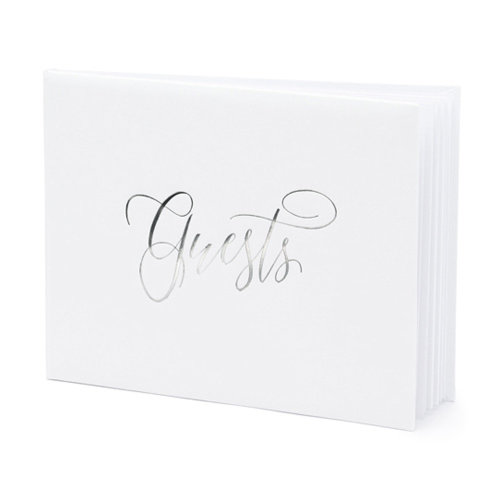 White Wedding Guest book with Silver 'Guests' 22 pages