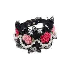 Lace Trimming Beads Decorated Adjustable Collar BLACK(Fit 26~32cm neck)