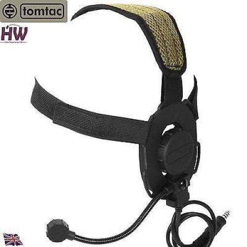 Airsoft Tomtac Bowman Evo Iii 3 Headset Boom Mic Black Swat Helmet Radio Uk