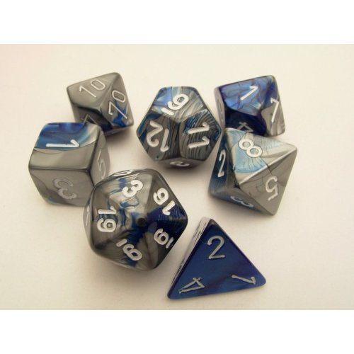 Chessex Gemini Polydice Set - Blue-Steel/white