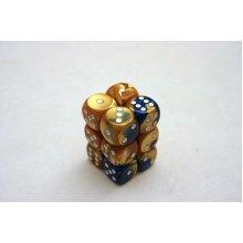 Chessex Gemini 16mm D6 x 12 - Blue-Gold/white