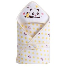Lovely Panda Baby Receiving Blankets Summer Hooded Swaddleme, Yellow