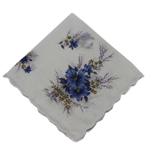 3 Pcs Retro Floral Print Handkerchiefs Ladies Cotton Pocket Handkerchief, #20