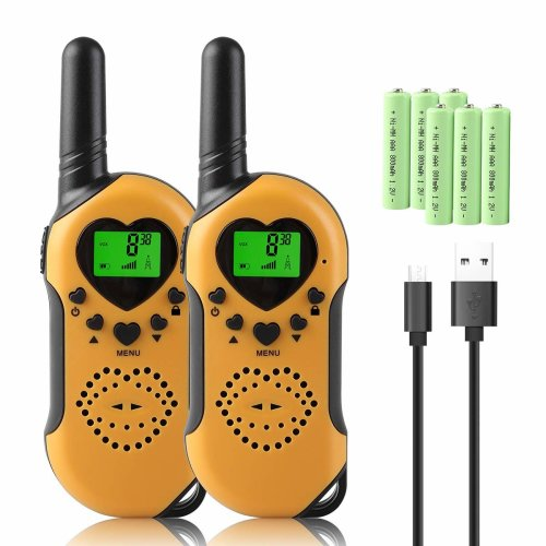 Walkie Talkie Kids, 8Km Long Distance Walkie Talkies Rechargeable,PMR 446 with 312 group Channels & VOX Hands Free, Pack of 2 (Orange)