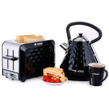 ViVo 3000W 1.7L Diamond Electric Kettle and 2 Slice Wide Slot Toaster Set Luxury