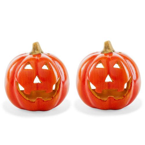 2pc Pumpkin Tea Light Holders | Halloween Candle Lanterns