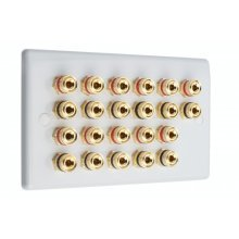 SlimLine White 11.0 2 Gang - 22 Binding Post Speaker Wall Plate - 22 Terminals - No Soldering Required